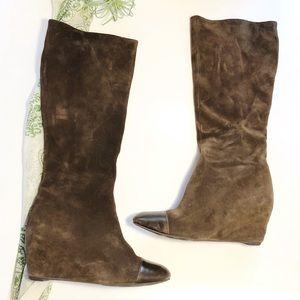 Delman Suede Leather Boots Tall Zip Wedge Heel 7